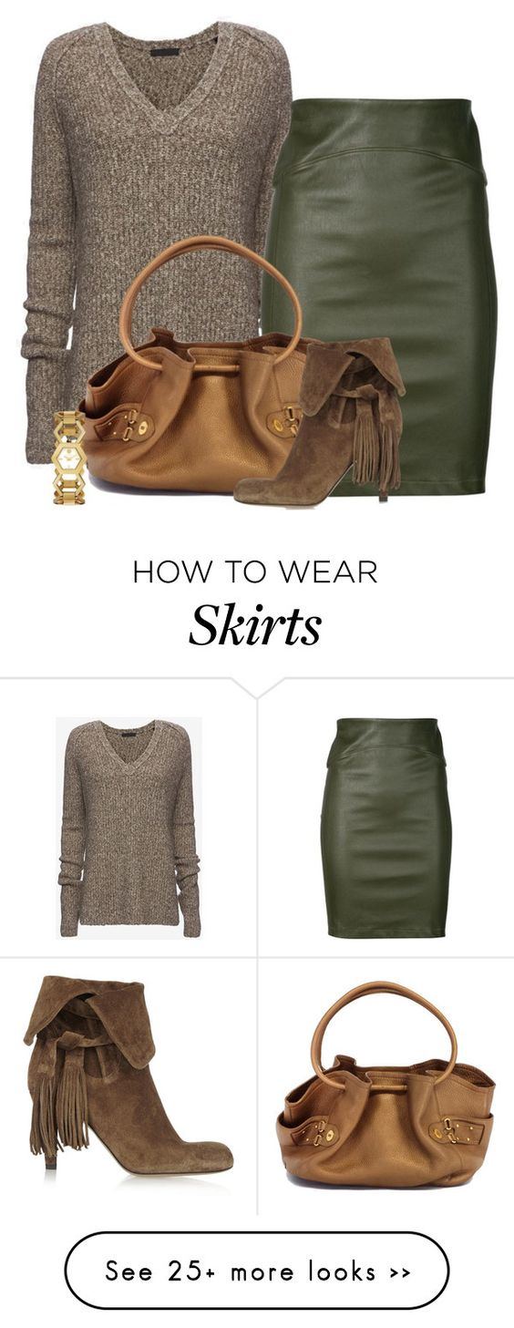 """Leather Pencil Skirt for Fall"" by lbite on Polyvore featuring ATM by Anthony Thomas Melillo, Getting Back To Square One, Cole Haan, Tory Burch and Chloé"