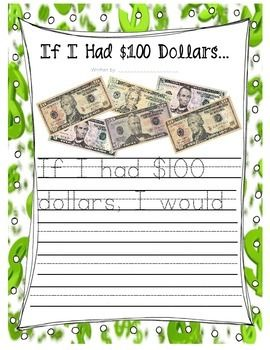 "Students will create a writing piece on the 100th day of school prompted with the title ""If I had $100 dollars."" This was designed for my first grade class so the writing paper does have the primary lines and the story has been started for them. Please leave any feedback and suggestions!"