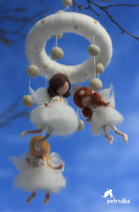 white baby crib mobile with fairies, waldorf inspired, needle felt, wool felt, made to order