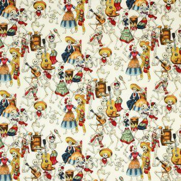 Amazon.com: Alexander Henry Folklorico Fiesta de los Muertos Natural, 44-inch (112cm) Wide Cotton Fabric Yardage