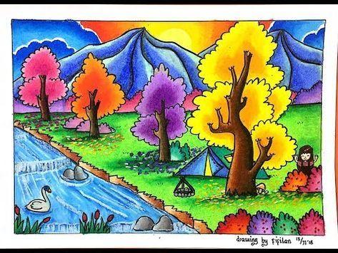 Cara Menggambar Dan Gradasi Warna Tema Pemandangan Alam Yang Canti K Youtube Tema Seni Cara Menggambar Seni Pastel