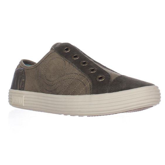 DKNY BR-1009 Laceless Slip On Fashion Sneakers - Brown/Olive