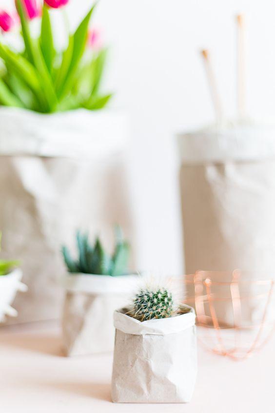 DIY Packing Paper Sack Planters & Vases: