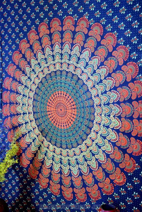 Indienne tapisserie coton bleu multicolore Mandala imprimé Vintage tenture tapisseries Throw couverture de feuille de lit-image-Planches-Id du produit:50017220749-french.alibaba.com