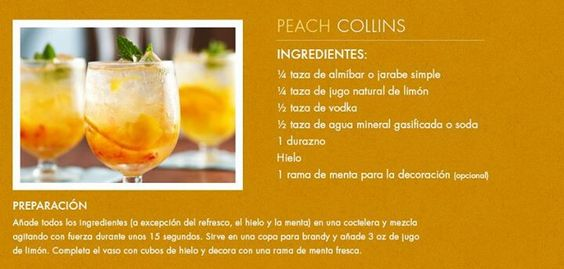 Bebida - Peach Collins | Recipes | Pinterest | Peaches