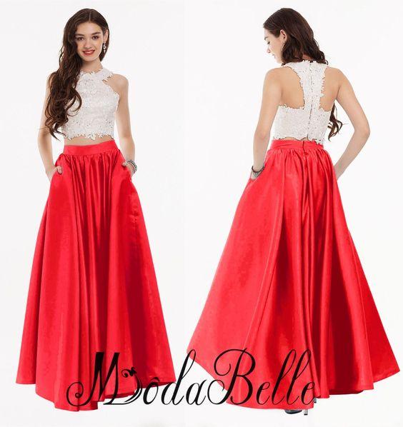 Aliexpress.com : Buy Red Lace Junior Prom Dresses 2 Piece Prom ...
