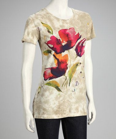 Take a look at this Beige Watercolor Pansy Organic Tee - Women by IMAGINE GreenWear on #zulily today! $17 !!