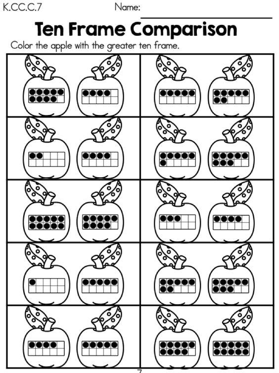 math worksheet : back to school kindergarten math worksheets  ten frames  : Back To School Math Worksheets