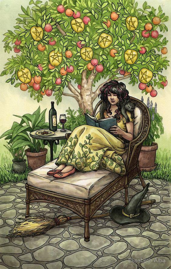 «Everyday Witch Tarot - Nine of Pentacles» de Elisabeth Alba
