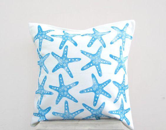 Nautical decor pillow: starfish print in blue on white throw pillow cushion cover, beach cottage ...
