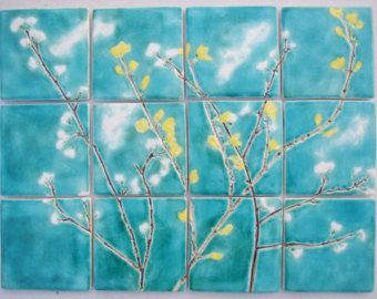 12 printemps fleur de carreaux de cramique turquoise de cuisine salle de bain jaune - Salle De Bain Jaune Et Turquoise