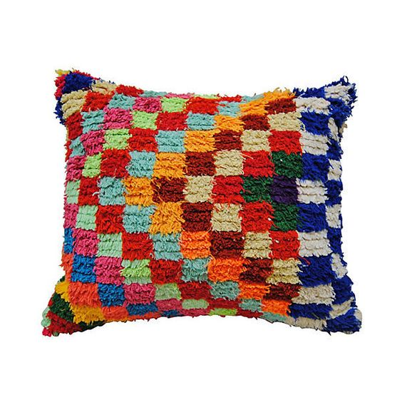 Pre-Owned Moroccan Boucherouite Pillow (185 CAD) ❤ liked on Polyvore featuring home, home decor, throw pillows, multi, moroccan throw pillows, colorful throw pillows, square throw pillows, moroccan style home decor and multi colored throw pillows