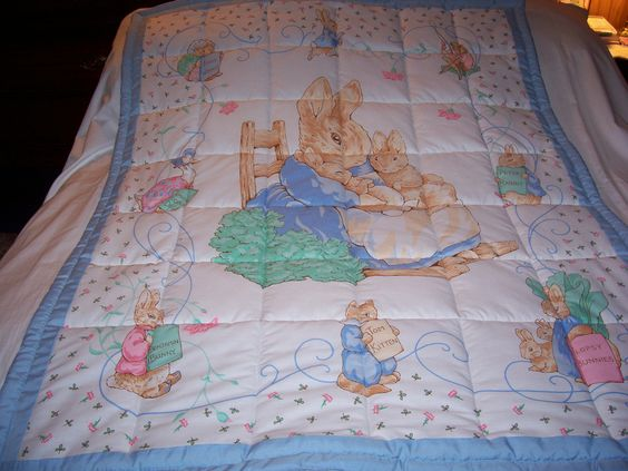 Handmade Baby Peter Rabbit and Beatrix Potter Boy's Cotton Baby/Toddler Quilt-NEW 2015 by quilty61 on Etsy