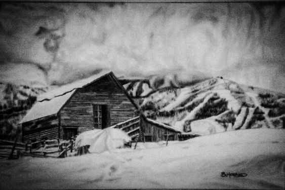 PATH Collection - Barn drawing Graphite by Ben Howard