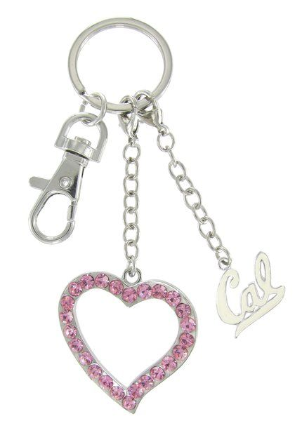 Pink Heart and White Cal Love Key Charm
