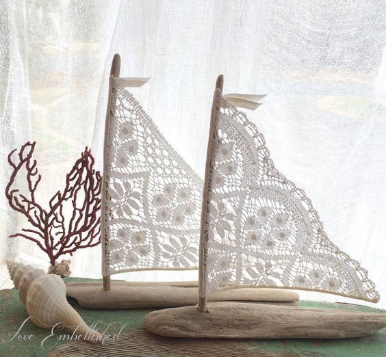 DIY inspo....8 inch Pair Driftwood Beach Decor Sailboats with Vintage Lace Sails Coastal Beach House Seaside Wedding Cake Topper Decoration