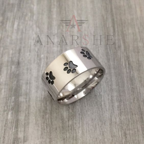 Paw Print Ring in Sterling Silver Metal Dog and Cat by ShopAnarshe