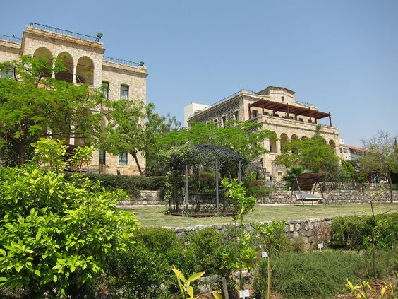 On the shores of Sea of Galilee, Israel, historic building, now an intimate luxury hotel.