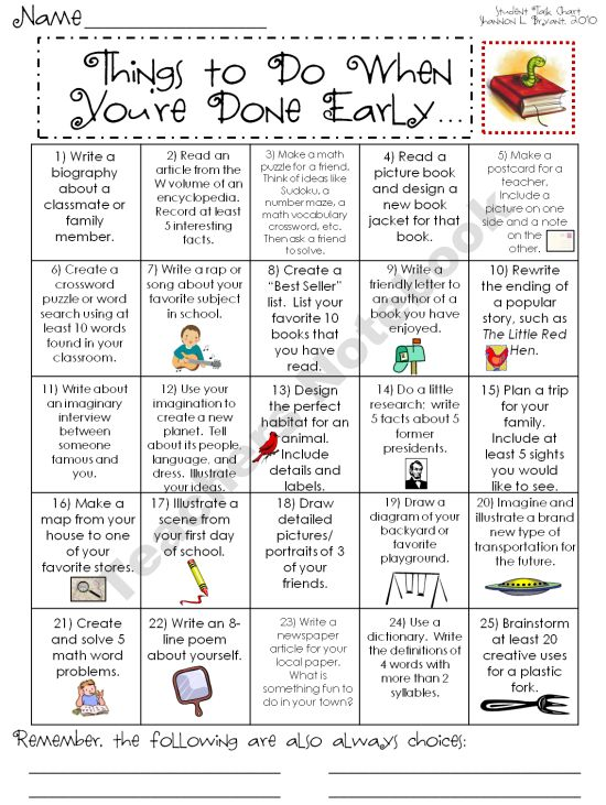 Early Finisher activities.  Altho this idea is about children. . . we could use this idea to create ideas for what to do in our