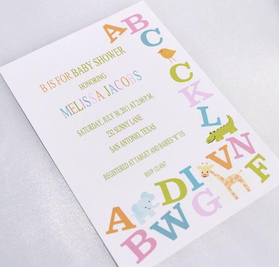 cute shower theme!! Alphabet Baby Shower Invitations. $1.00, via Etsy.