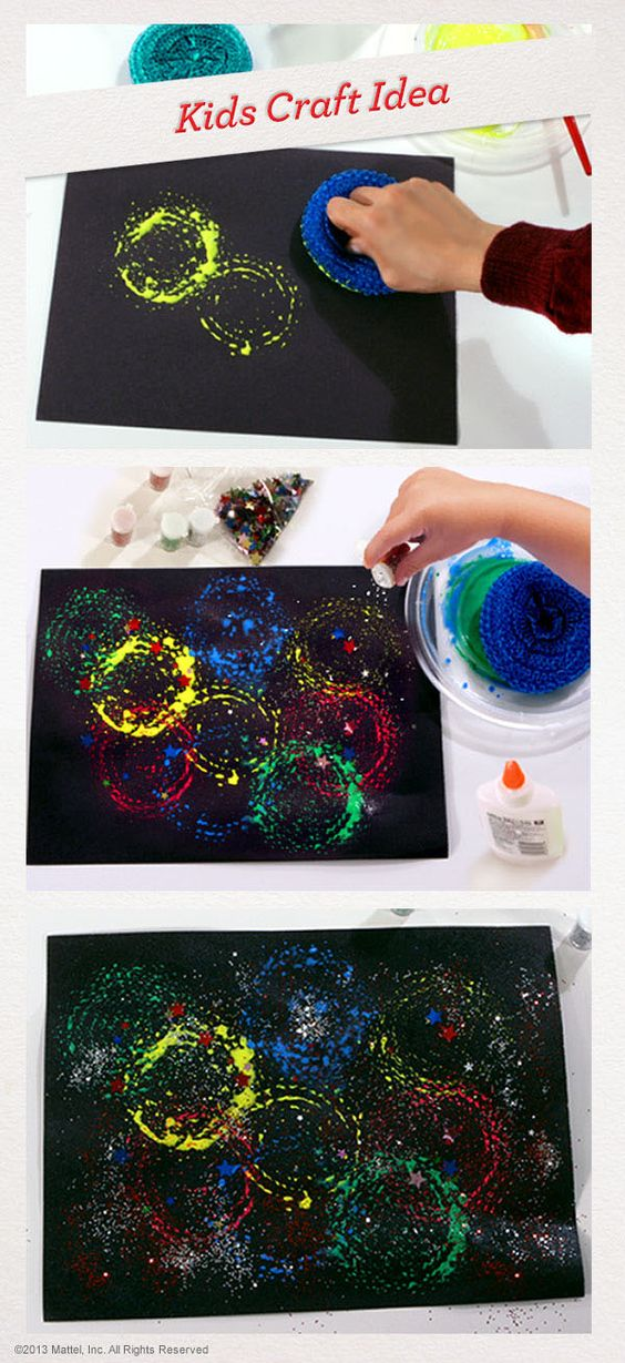 Kids craft - A fun way to make a firework themed painting for bonfire night!