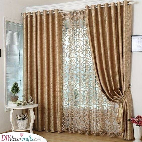Pin En Bedroom Curtains Ideas, Double Curtains For Living Room