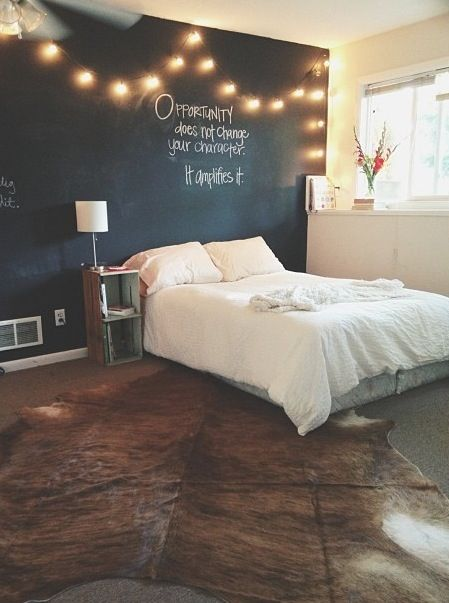Chalkboard wall with string lights...love this idea for Drew's room in our next house.: