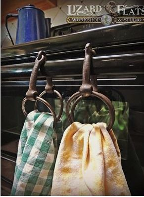 Wow! Love this idea for the old rusted snaffle bits I have laying around. Kitchen towel holder ideas for living quarters in trailer!!