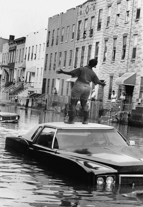 Water main break, Bushwick, Brooklyn, NY, July 28, 1978
