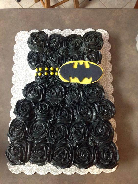 Batman theme bridal shower pull apart cupcakes/cake