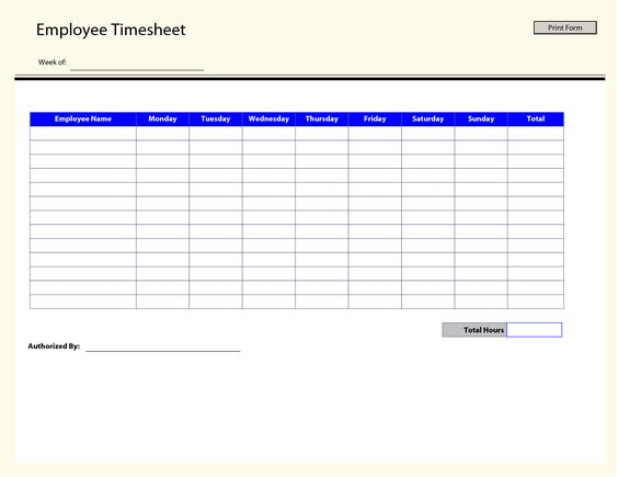 printable time sheets – Free Timesheet Form