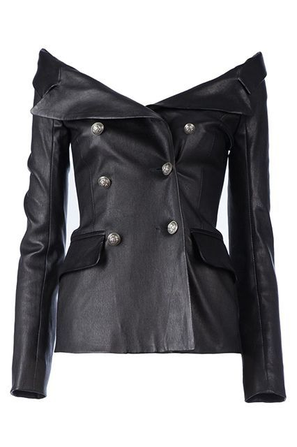 """What New York's Most Stylish Are Buying This Fall #refinery29 http://www.refinery29.com/new-york-fashionista-shopping-guide#slide-15 Faith Connexion Off-The-Shoulder Jacket""""My love for Faith Connexion's leather double breasted leather top only seems to get stronger and stronger. I mean, need I say more?""""..."""