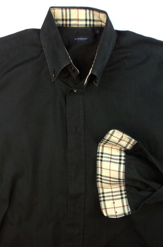 Burberry London Men 39 S Nova Check Flip Cuff Black Cotton