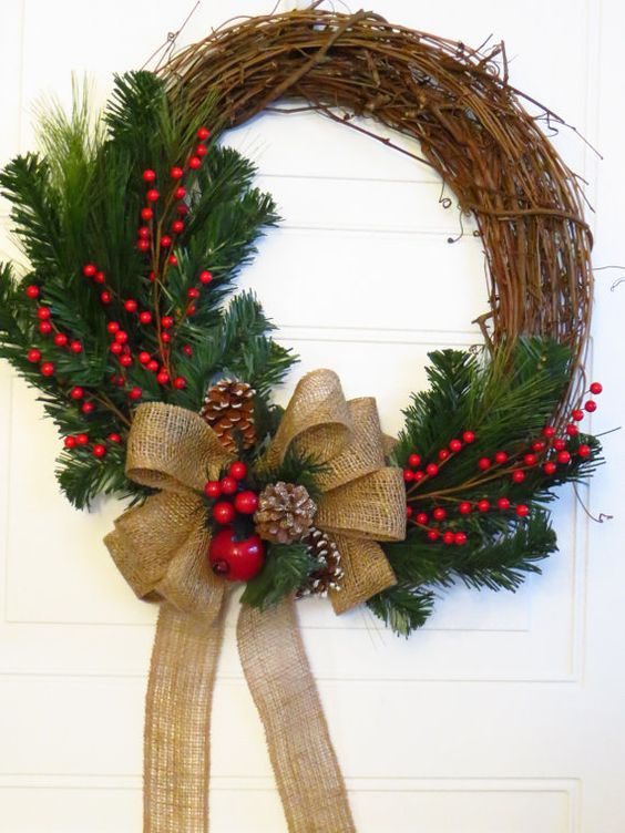 Christmas Wreath, Burlap Bow on Christmas Wreath, Rustic Christmas Wreath, Christmas Wreath For Door, Holiday Decor: