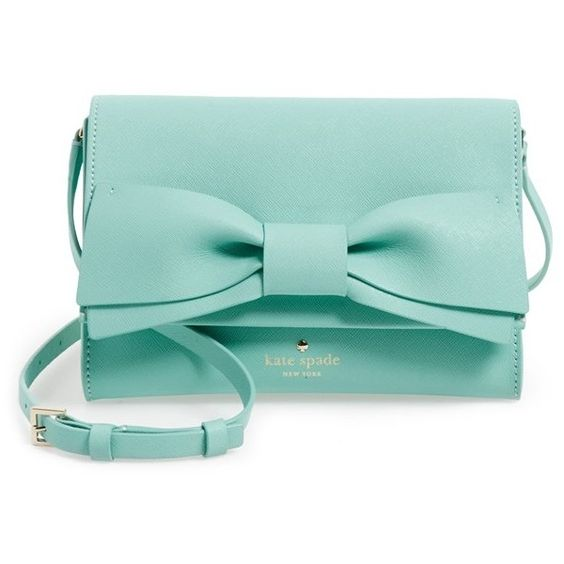 kate spade new york 'clement street - francie' textured leather clutch ($228) ❤ liked on Polyvore featuring bags, handbags, clutches, bow handbag, green purse, kate spade purses, kate spade handbag and kate spade