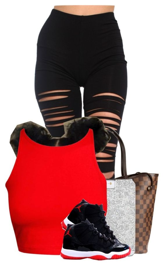 """hood"" by nigamexwell ❤ liked on Polyvore featuring Akira, Louis Vuitton and NIKE"