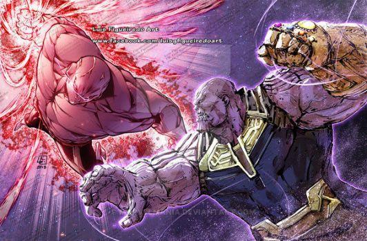 Jiren Vs Thanos Collab By Marvelmania Dragon Ball Artwork Dragon Ball Art Anime Dragon Ball Super