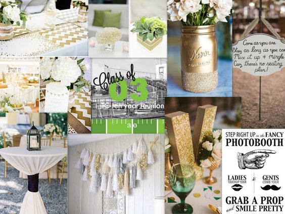 High School Reunion Inspiration~ Gold and blue ~ like some of the ideas Elegant decor, hightops with white linens, and a photobooth.