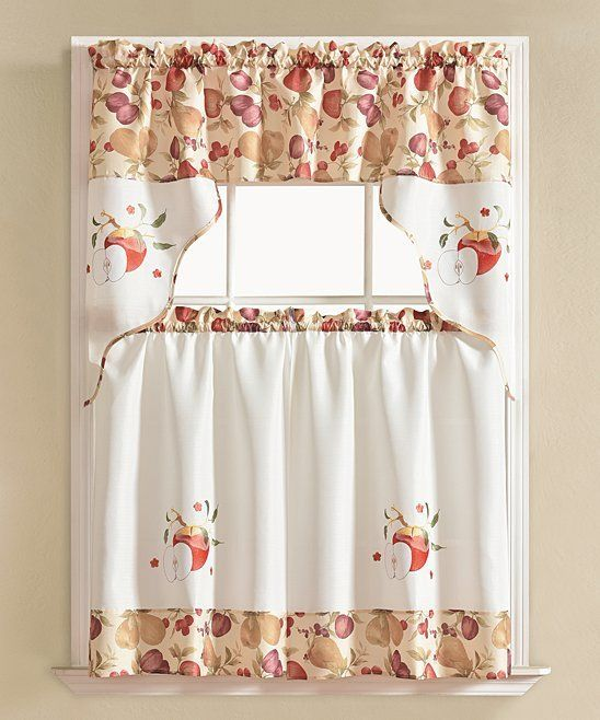 Take A Look At This White Red Urban Embroidered Apple Kitchen Curtain Set Today Kitchen Curtains Curtains Kitchen Curtains And Valances