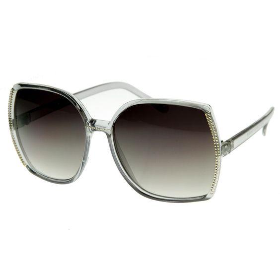 Designer Inspired Womens Fashion Oversized Square Studded Sunglasses