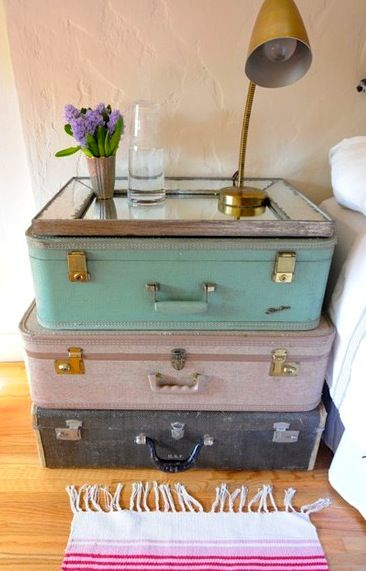vintage toddler boys bedroom ideas | vintage teen room ideas with stacked suitcase nightstand: