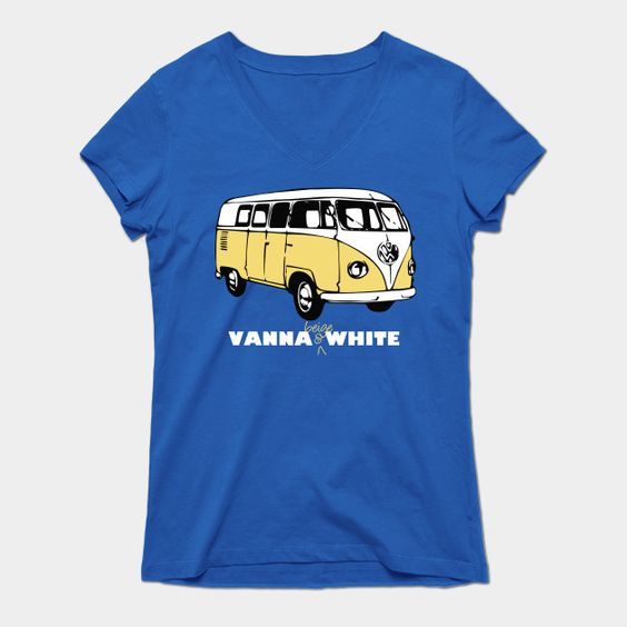 Vanna Beige & White Womens V-Neck T-Shirt
