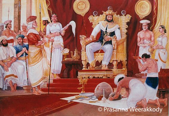 Royal Court of King Sri Wickrama Rajasinghe, 19th Century Royal court scene. 5'x 7ft. Currently on display at the Departure lounge- Bandaranayake International Airport, Katunayake.