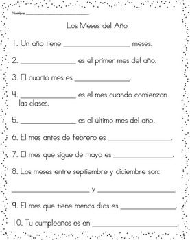 Printables Spanish Comprehension Worksheets spanish comprehension and student on pinterest this is a great worksheet to assess students of the months year