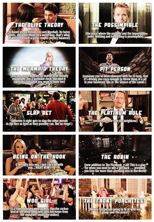 The different theories on HIMYM!  my favorite is the Pit Person....because I am sick like that....hahahaha