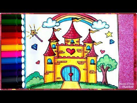 رسم قلعة سهلة جدا للأطفال والمبتدئين تعليم رسم قصر المدينة السحرية How To Draw Castle For Kids Youtube Drawings Castle Polymer Clay