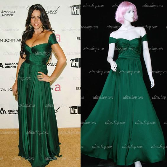 Sofia Vergara Off the shoulder Pleated Dark Green Maxi Long Prom Gown Celebrity Dress,in