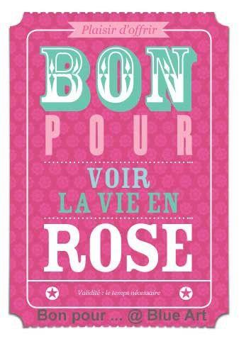 """Carte """"BON POUR"""" voir la vie en rose"""