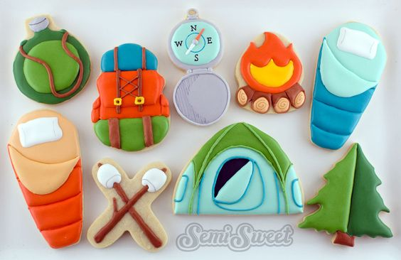 Creative ways to use common cookie cutters for camping-themed cookies. By SemiSweet Designs @semisweetmike: