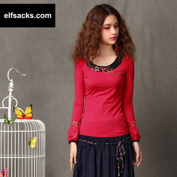 Womens Round Collar Long Sleeve Tshirt red lantern Sleeve